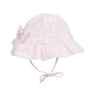 Lili Gaufrette Girl's Broderie Anglais Pink Sun Hat