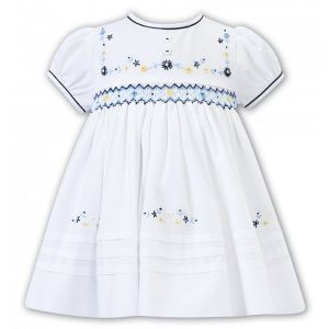 Sarah Louise White & Shades of Blue Floral Smocked Dress