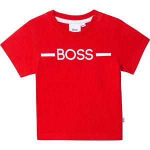 BOSS Kidswear Red Cotton Sporty Logo T-Shirt