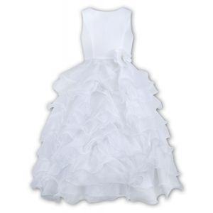 Sarah Louise White Sleeveless Ruffle Dress