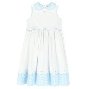 Sarah Louise White & Blue Gingham Embroidered Dress