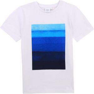 BOSS Kidswear White & Blue Gradient Cotton Logo T-Shirt