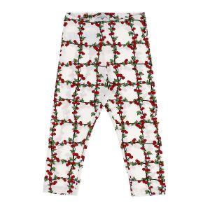 Monnalisa White & Red Cotton Cherry Pattern Leggings
