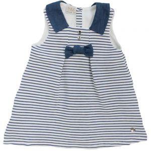 Paz Rodriguez Girl's Denim Blue And White Striped Dress