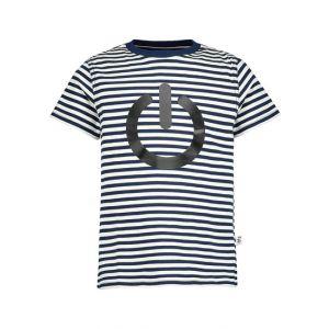 Il Gufo Boys Black and White Striped Cotton Start Button T-Shirt