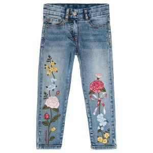 Monnalisa Slim Fit Floral Denim Jeans