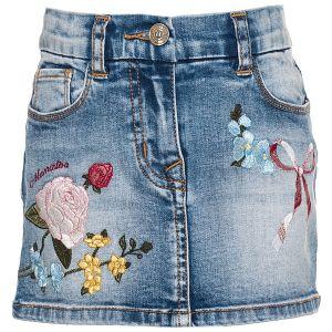 Monnalisa Blue Denim Floral Skirt