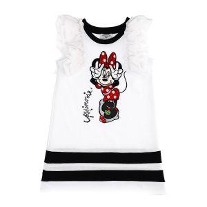 Monnalisa White Cotton Minnie Mouse Disney Dress