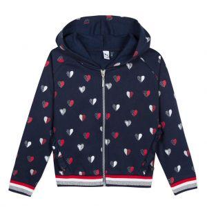 3Pommes Girls Navy Blue Heart Print Zip-Up Top