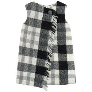 Il Gufo Black & Grey Tartan Check Pinafore Dress