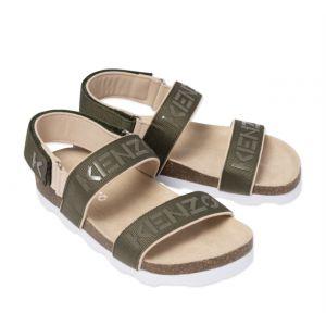 KENZO KIDS Khaki Logo Sport Sandals