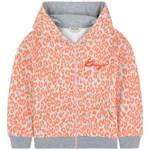 Kenzo Kids Girls Cotton Orange Leopard Print Zip-Up Top