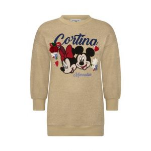 MONNALISA  Girls Glittery Gold Minnie & Mickey Dress