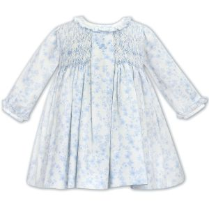 Sarah Louise White & Blue Smocked Floral Dress
