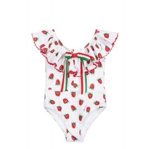 Monnalisa White Strawberry Swimsuit