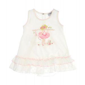 Monnalisa Ivory Ballerina Frill T-Shirt
