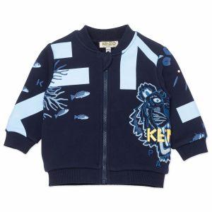 KENZO KIDS Baby Navy Blue Coral Logo Zip-Up Top