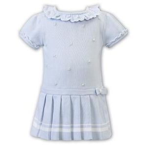 Sarah Louise Girls Pale Blue Pleated Knitted Dress