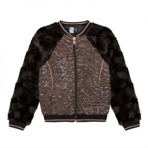 3Pommes Faux Fur Sleeved Jacquard Print Jacket