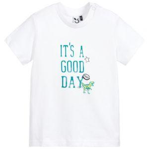 3Pommes Boys White Cotton Dinosaur Roar T-Shirt