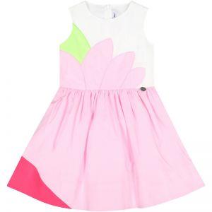 Simonetta Girl's Sleeveless  Pink And White Abstract Flower Dress