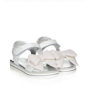 Monnalisa White Beaded Bow Logo Sandals