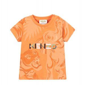 KENZO KIDS Orange Cotton Multi Logo T-Shirt