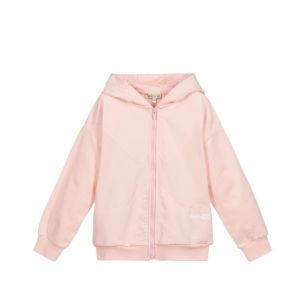 KENZO KIDS Pink with White Logo Hooded Zip-Up Top