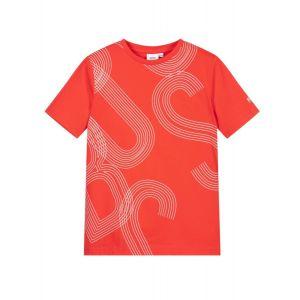 BOSS Kidswear Teen Red Striped Logo T-Shirt