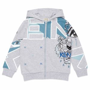 Kenzo Kids Boy's Grey Cotton Coral Logo Zip Up Top