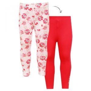 Guess Teen White Pink Floral Logo Leggings