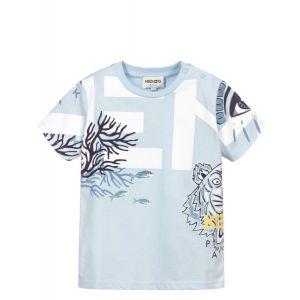 KENZO KIDS Baby Blue Coral Logo T-Shirt