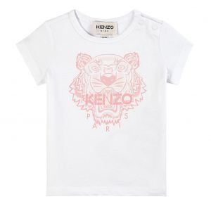 KENZO KIDS Baby Girls White and Pale Pink Iconic Tiger T-Shirt