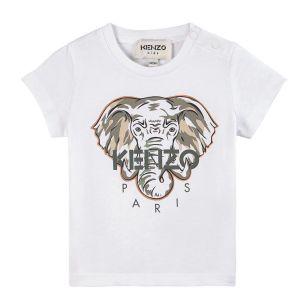 KENZO KIDS Khaki Elephant White CottonT-Shirt