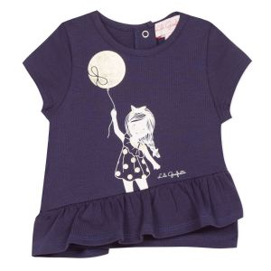 Lili Gaufrette Girls Navy Cotton Guapa T-Shirt