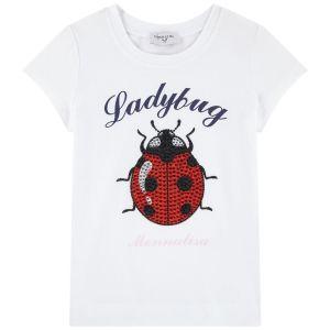 Monnalisa White Cotton Ladybird T-Shirt