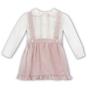 Sarah Louise Ivory & Pink Cotton Skirt Set