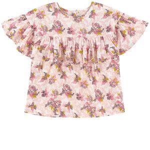 Carrément Beau Girls Pink Cotton Floral Blouse
