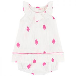 Girls Pink and White Billie Blush Dress and Knickers