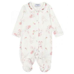 Monnalisa Ivory & Pink Bunnies Babygrow