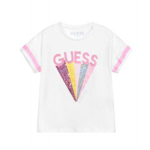Guess Girls White Sparkly Logo T-shirt
