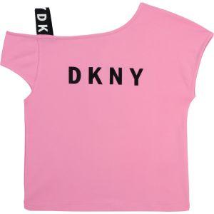 DKNY Pink One Shoulder Logo Top