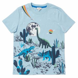 Paul Smith Junior Light Blue Glow In The Dark Dinosaur T-Shirt