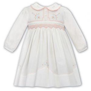 Sarah Louise Ivory & Peach Hand-Smocked Pleated Collar Cotton Dress