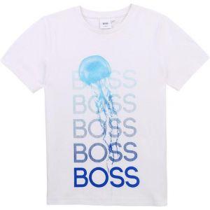 BOSS Kidswear White Cotton Jelly Fish Logo T-Shirt