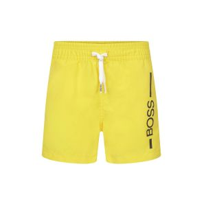 BOSS Kidswear Boys Bright Yellow Logo Swim Shorts