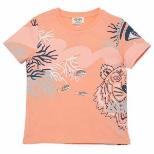 KENZO KIDS Coral Tiger Logo T-Shirt