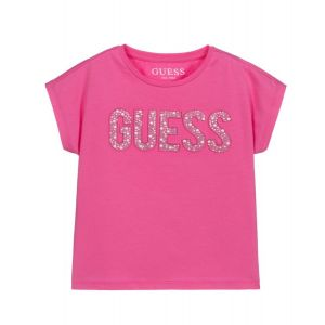 Guess Girls Pink Cotton Diamanté and Pearl Logo T-Shirt