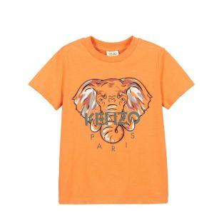 KENZO KIDS Older Boys Orange Cotton Elephant T-Shirt