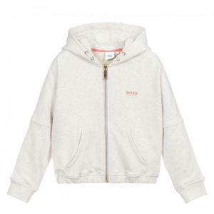 BOSS Kidswear Grey Cotton Logo Zip-Up Top